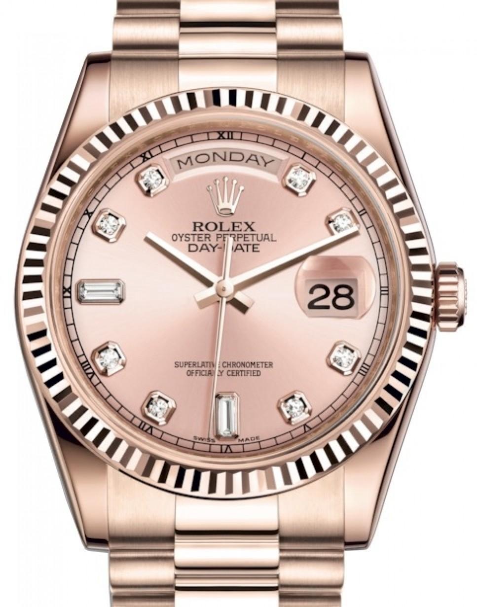 Rolex Day Date 36 Rose Gold Pink Diamond Dial Fluted Bezel President Bracelet 118235 Brand New