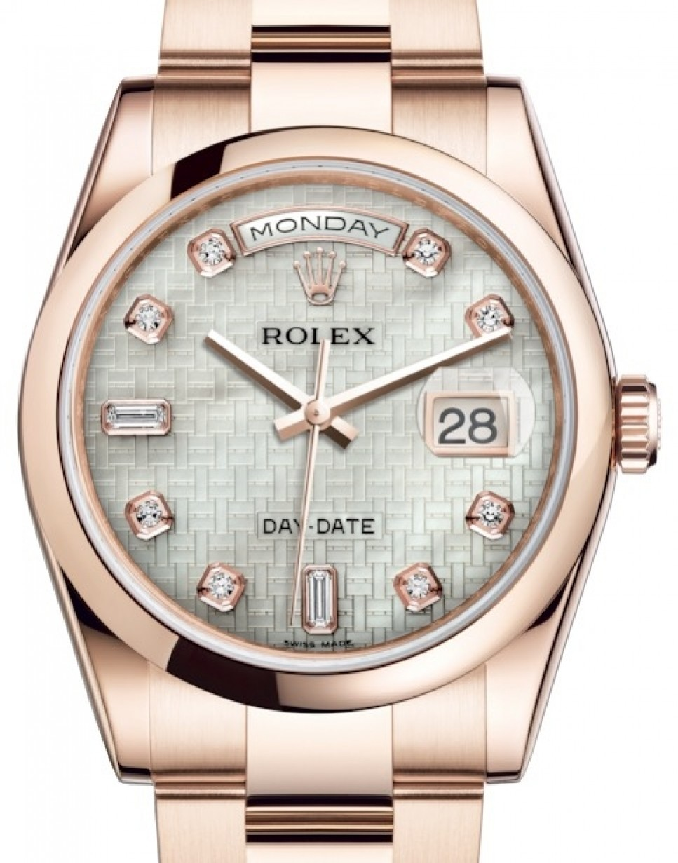 a9e703a7a49 More Views. Rolex Day-Date 36 Rose Gold White Mother of Pearl with Oxford  Motif Diamond Dial