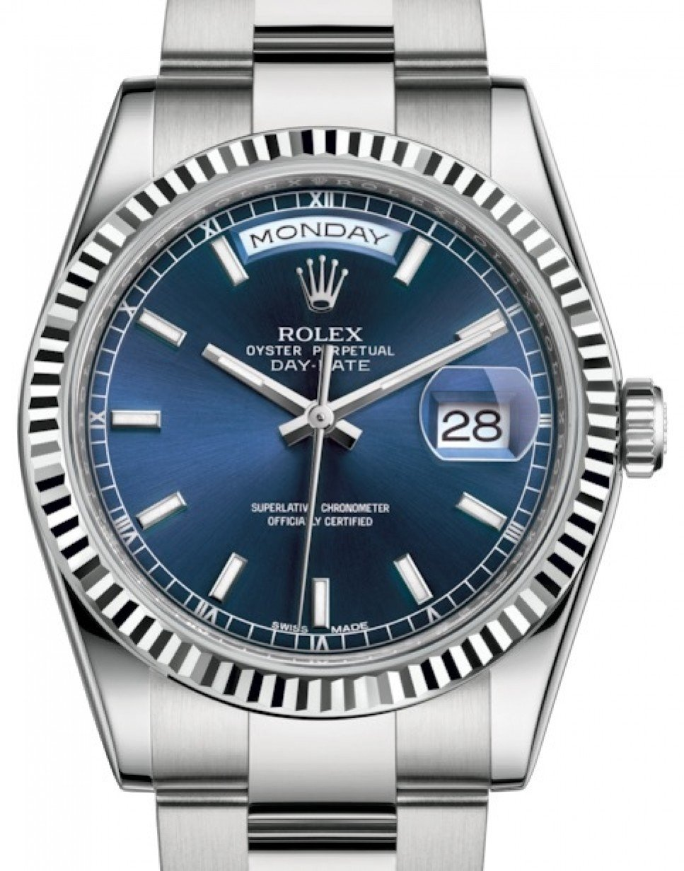 Rolex Day Date 36 White Gold Blue Index Dial Fluted Bezel Oyster Bracelet 118239 Brand New