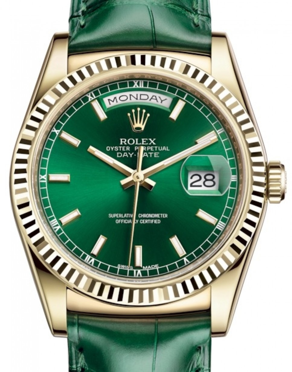Rolex Day Date 36 Yellow Gold Green Index Dial Fluted Bezel Green Leather Strap 118138 Brand New