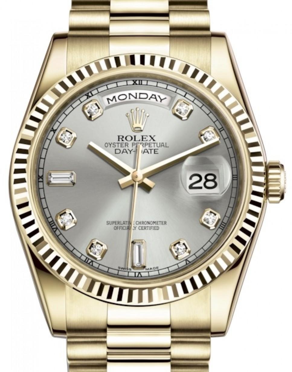 Rolex Day,Date 36 Yellow Gold Silver Diamond Dial \u0026 Fluted Bezel President  Bracelet 118238 , BRAND NEW