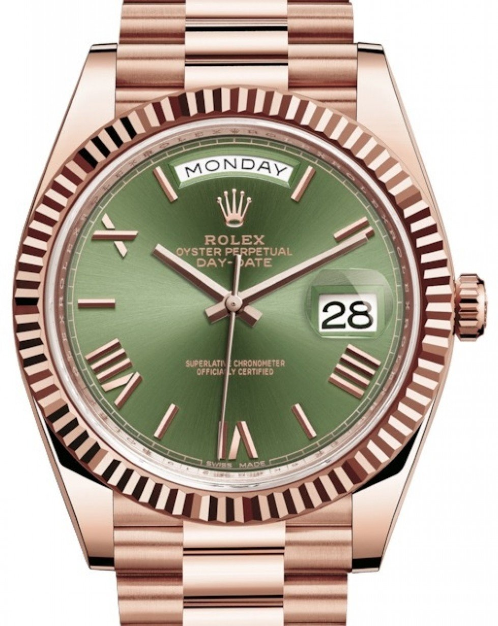 Rolex Day,Date 40 Rose Gold Olive Green Roman Dial \u0026 Fluted Bezel President  Bracelet 228235 , BRAND NEW