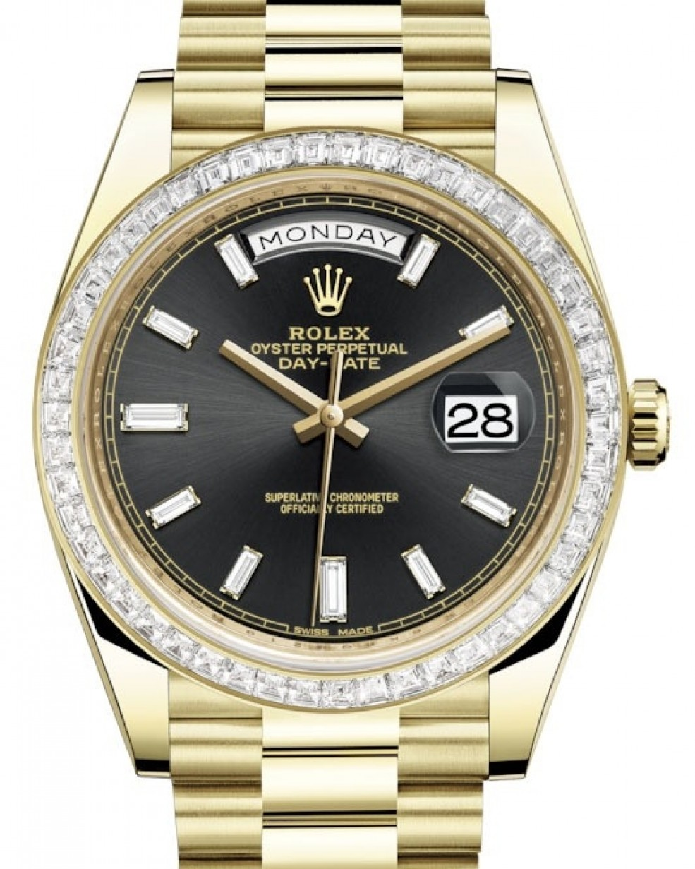 f989a8d3590 More Views. Rolex Day-Date 40 Yellow Gold Black Diamond Dial & Diamond  Bezel President Bracelet 228398TBR