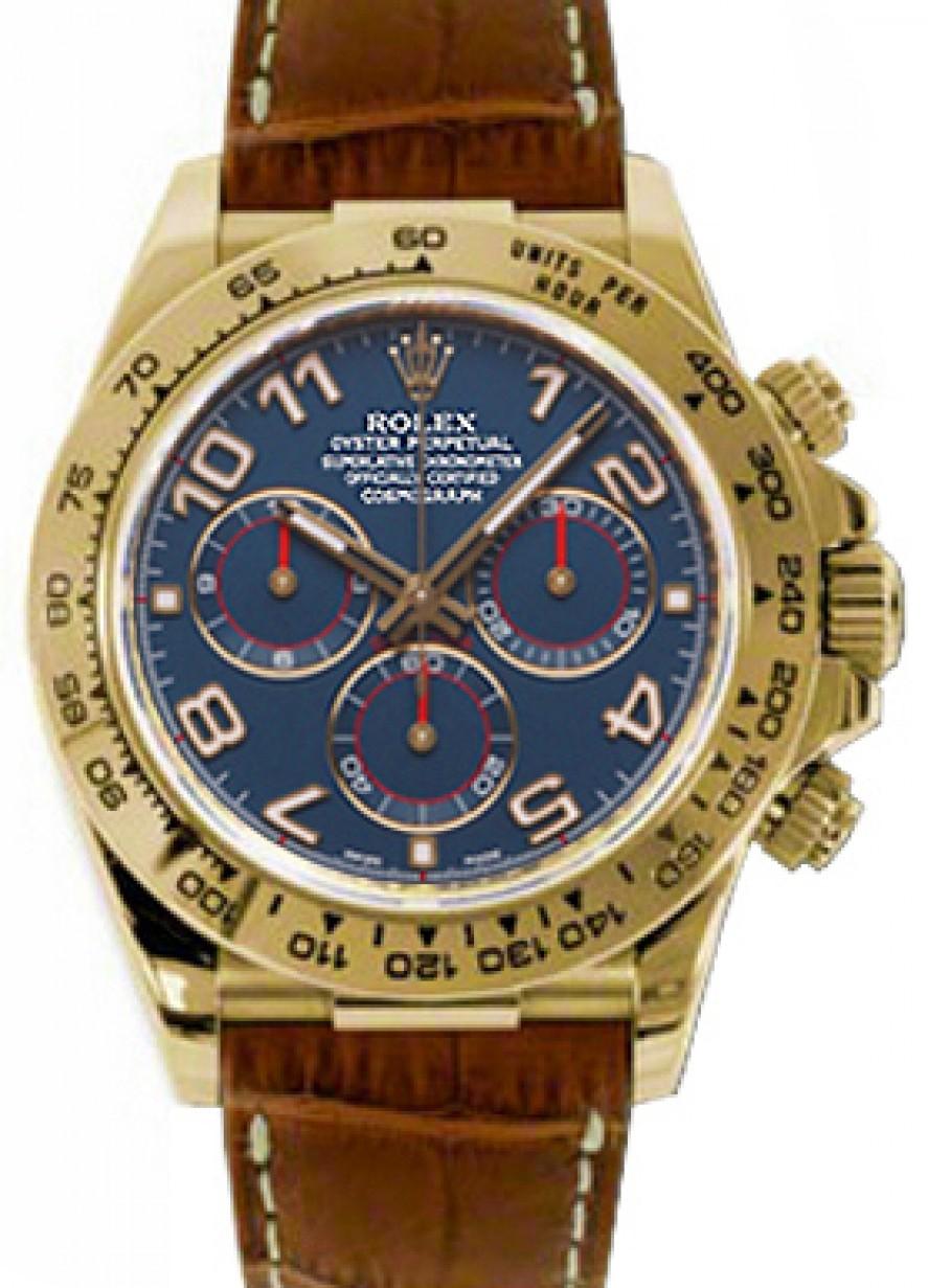 Rolex Daytona 116518 Blu Navy Blue Arabic 18k Yellow Gold Brown