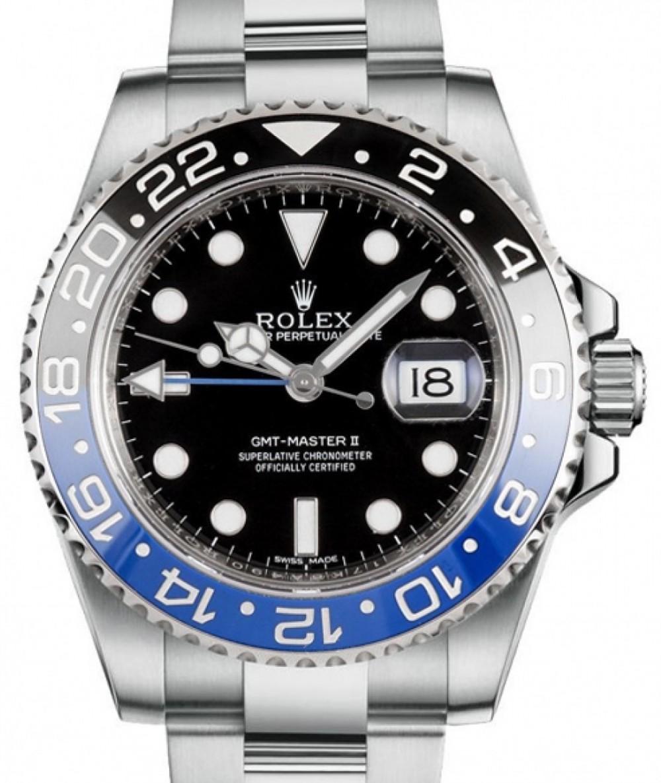 Rolex Gmt Master Ii Batman Steel Black Dial Blue Black Ceramic Bezel Oyster Bracelet 116710blnr Brand New