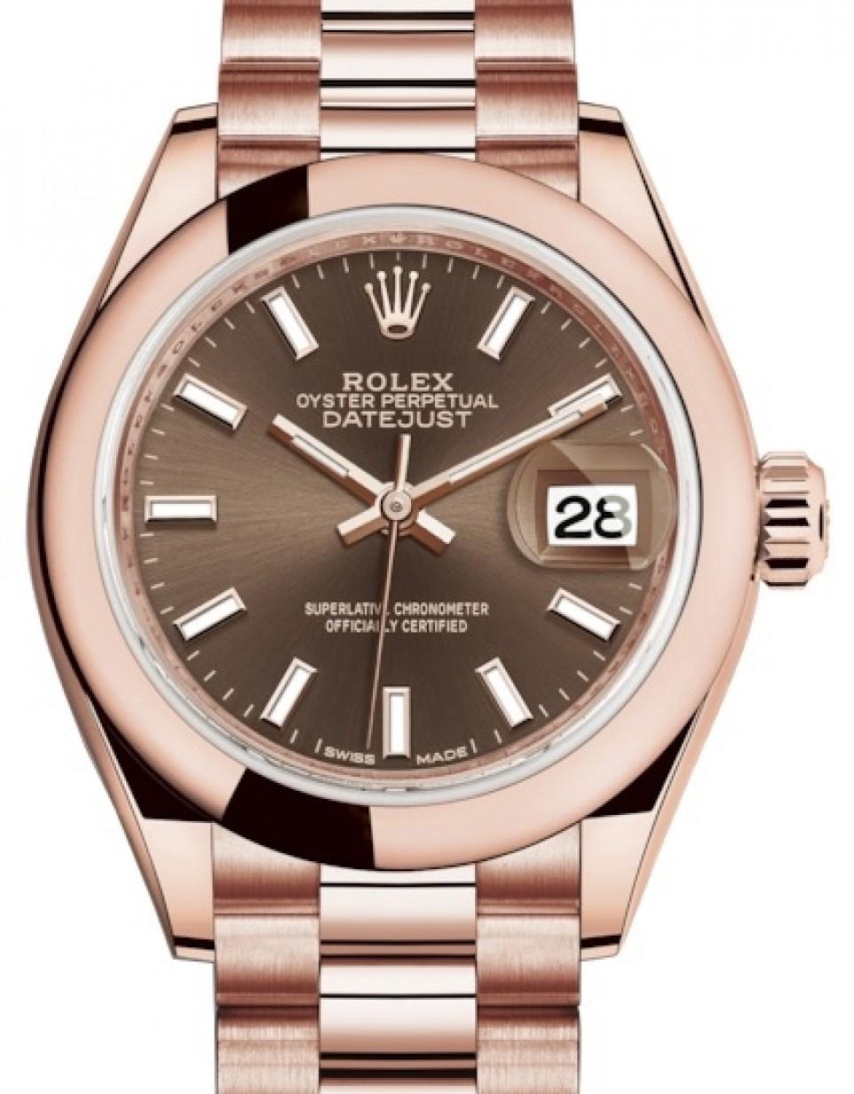 Rolex Lady Datejust 28 Rose Gold Chocolate Index Dial \u0026 Smooth Domed Bezel  President Bracelet 279165 , BRAND NEW