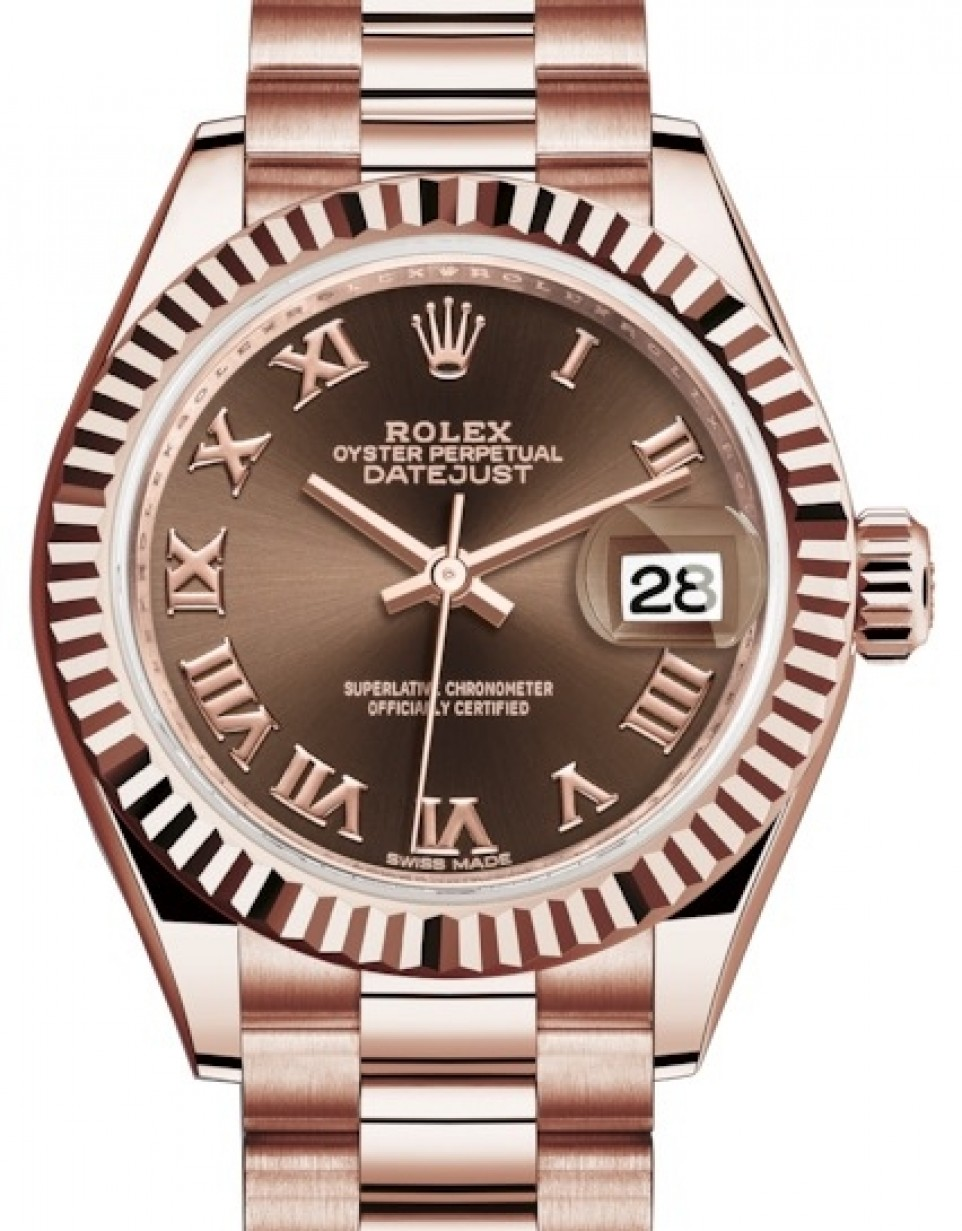 Rolex Lady Datejust 28 Rose Gold Chocolate Roman Dial \u0026 Fluted Bezel  President Bracelet 279175 , BRAND NEW