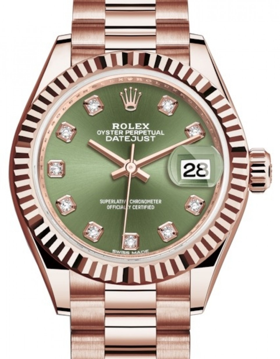 Rolex Lady Datejust 28 Rose Gold Olive Green Diamond Dial \u0026 Fluted Bezel  President Bracelet 279175 , BRAND NEW