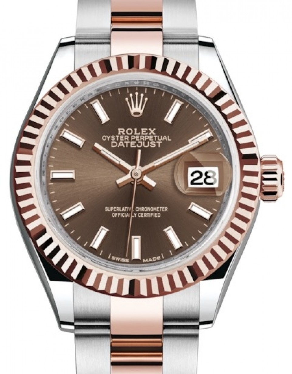 Rolex Lady Datejust 28 Rose Gold/Steel Chocolate Index Dial \u0026 Fluted Bezel  Oyster Bracelet 279171 , BRAND NEW