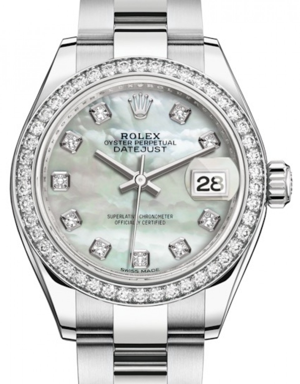 1566322e917a More Views. Rolex Lady Datejust 28 White Gold/Steel White Mother of Pearl  Diamond ...