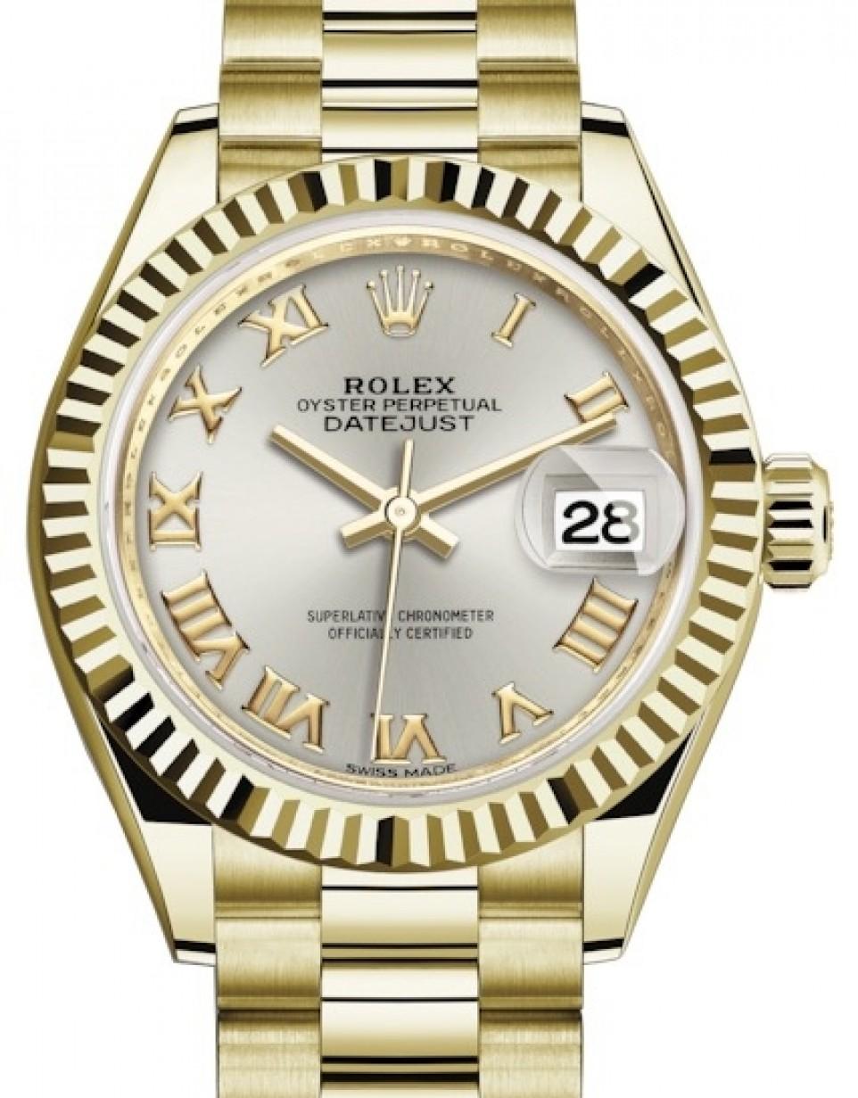 Rolex Lady Datejust 28 Yellow Gold Silver Roman Dial \u0026 Fluted Bezel  President Bracelet 279178 , BRAND NEW
