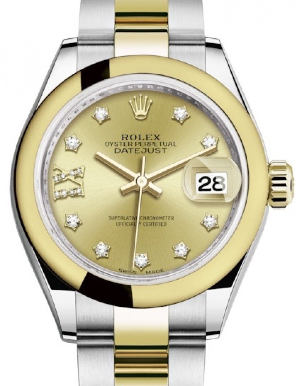 04b1601b167 More Views. Rolex Lady Datejust 28 Yellow Gold/Steel Champagne Diamond ...