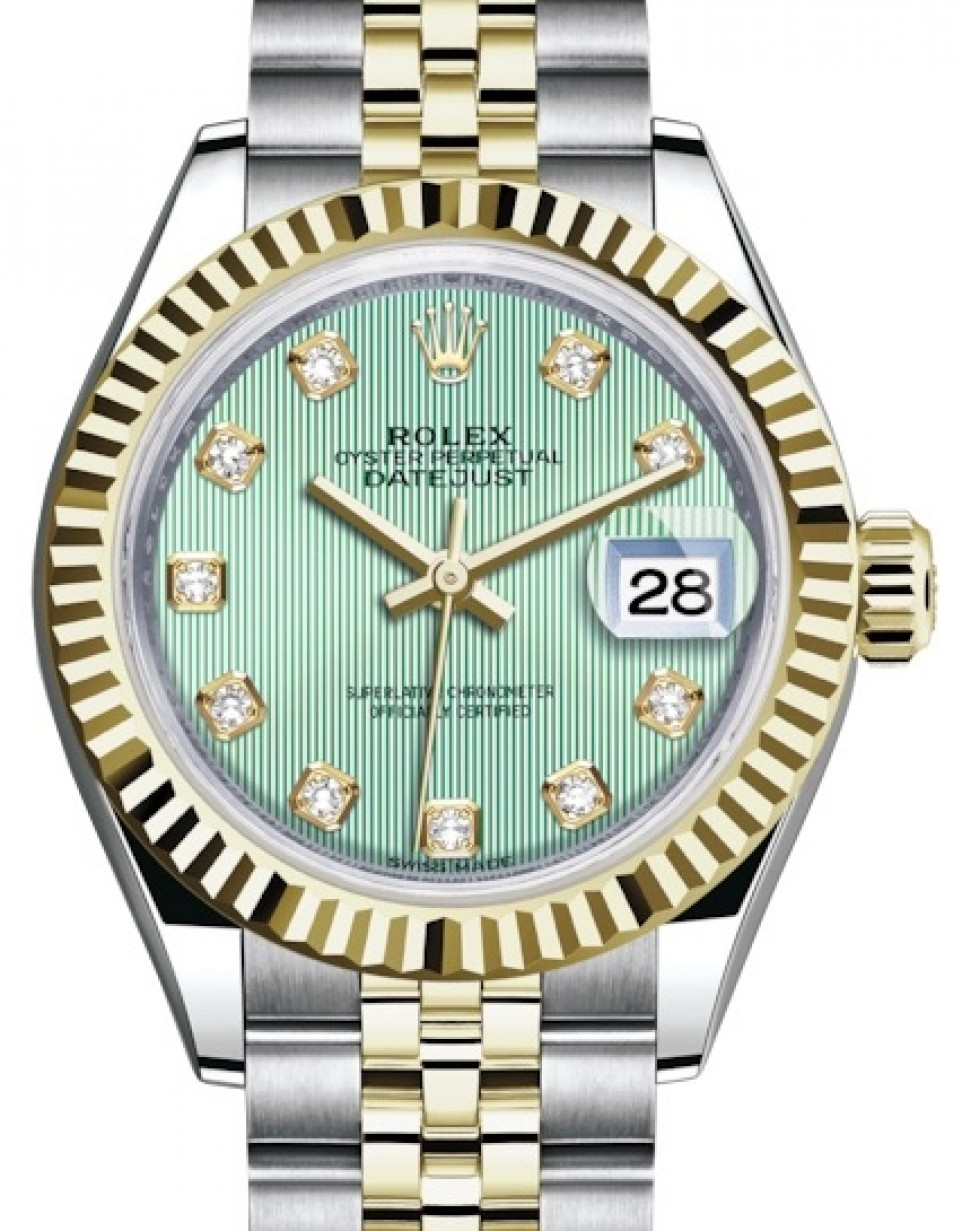Rolex Lady Datejust 28 Yellow Gold/Steel Mint Green Diamond Dial \u0026 Fluted  Bezel Jubilee Bracelet 279173 , BRAND NEW