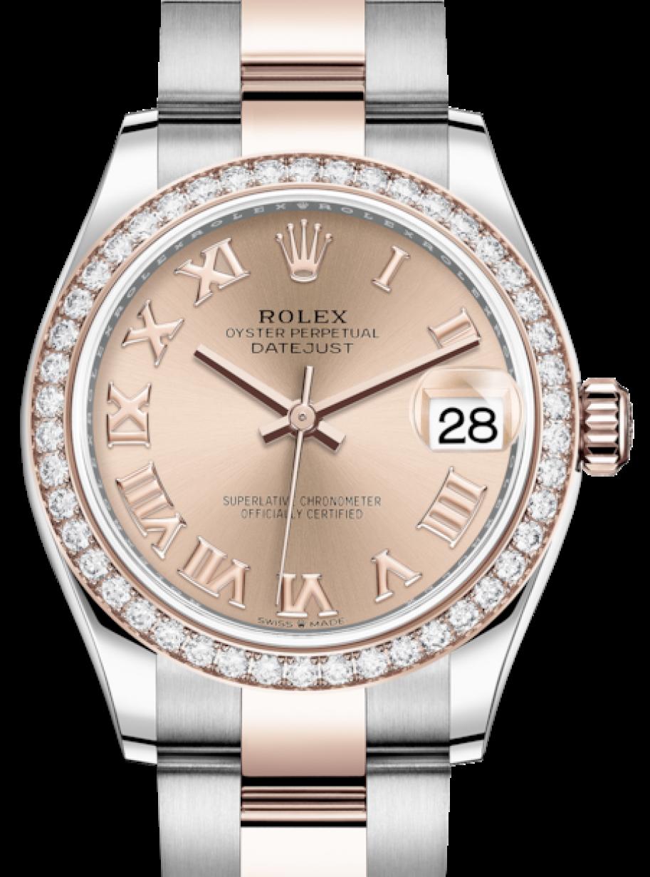 Rolex Lady-Datejust 31 Rose Gold/Steel Rose Roman Dial & Diamond Bezel Oyster Bracelet 278381RBR ...