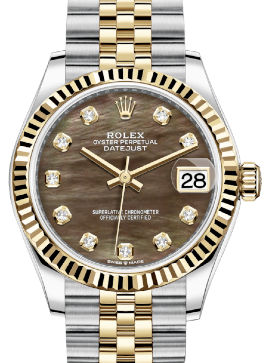 bcd69497d744 More Views. Rolex Lady-Datejust 31 Yellow Gold/Steel Black Mother of Pearl  Diamond ...