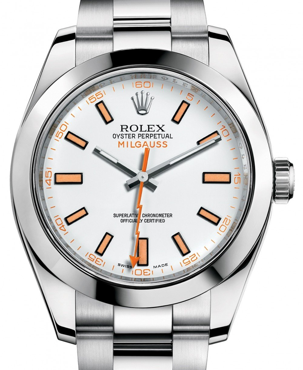 Rolex Milgauss 116400 White Index 116400WO Orange Stainless Steel , BRAND  NEW