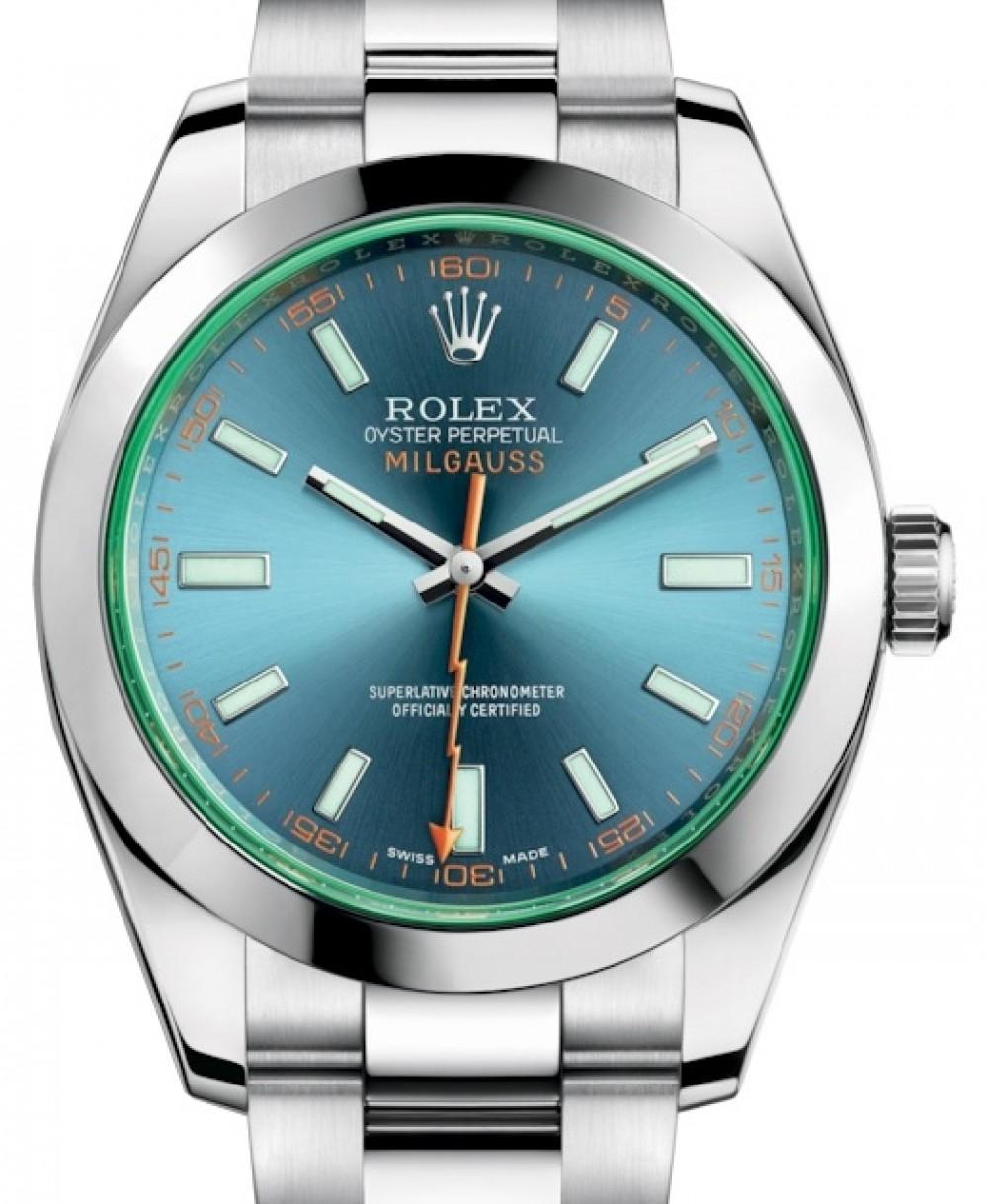 Rolex Milgauss Green Crystal Stainless Steel Blue Dial \u0026 Bezel Oyster  Bracelet 116400GV , BRAND NEW