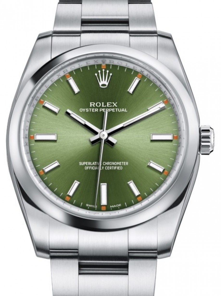 Rolex Oyster Perpetual 114200 Olgso 34mm Olive Green Index Domed