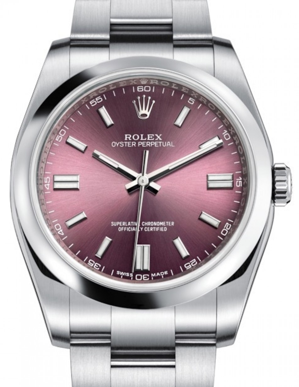 Rolex Oyster Perpetual 36 Stainless Steel Red Grape Index Dial Smooth Bezel Oyster Bracelet 116000 Brand New