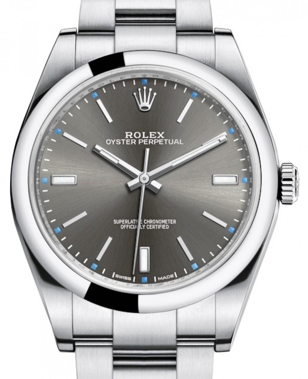Rolex Oyster Perpetual 114300 Rhoso 39mm Dark Rhodium Index Domed