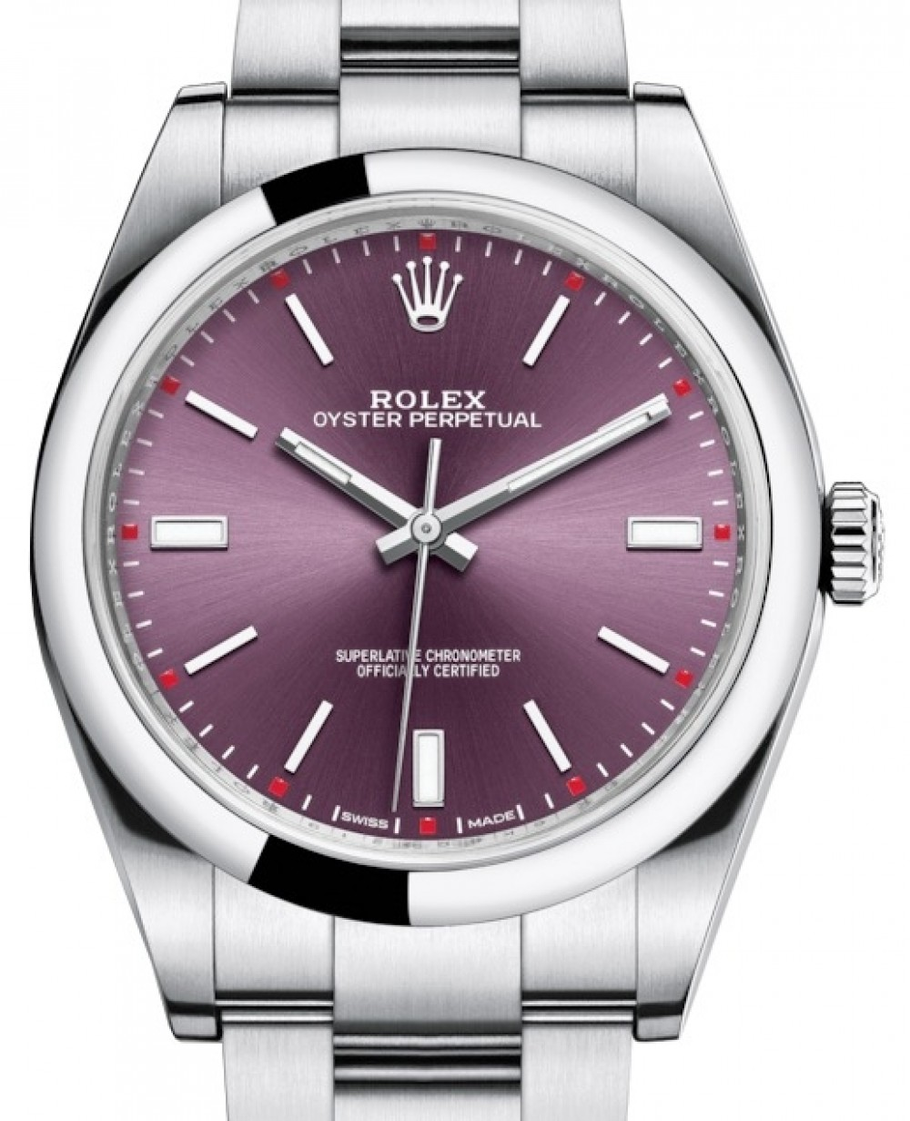9f33ab7b09cbb More Views. Rolex Oyster Perpetual 39 Stainless Steel Red Grape Index Dial    Smooth Bezel Oyster Bracelet 114300