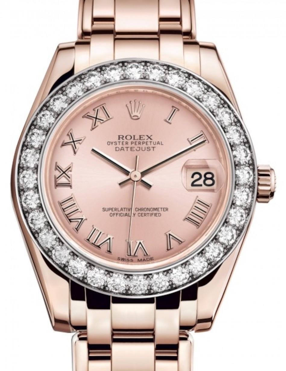 Rolex Pearlmaster 34 Rose Gold Pink Roman Dial \u0026 Diamond Bezel Pearlmaster  Bracelet 81285 , BRAND NEW