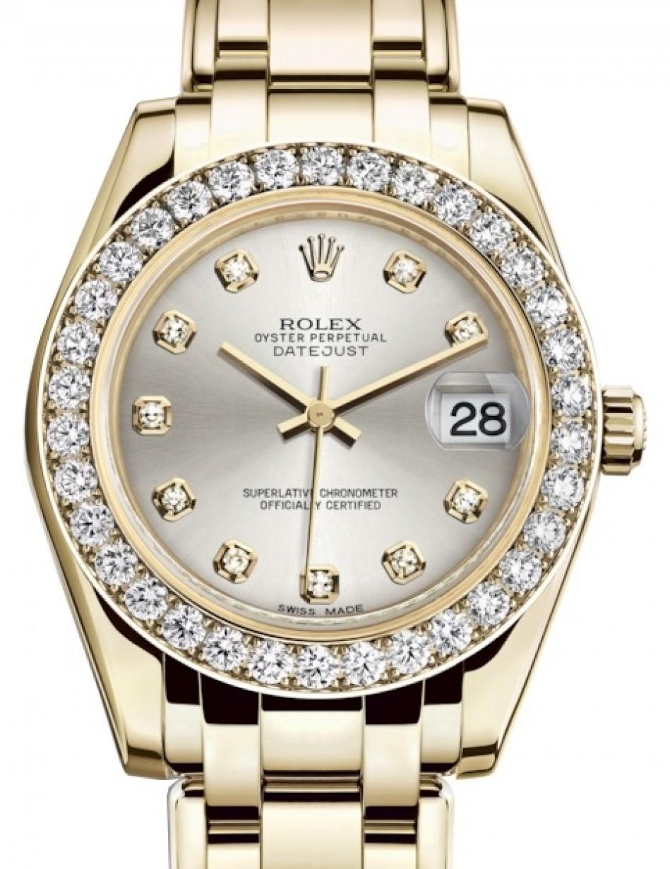 Rolex Pearlmaster 34 Yellow Gold Silver Diamond Dial \u0026 Diamond Bezel  Pearlmaster Bracelet 81298 , BRAND NEW