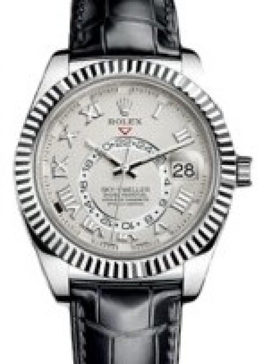 Rolex Sky,Dweller 326139 42mm Ivory Roman 18k White Gold Black Leather ,  BRAND NEW