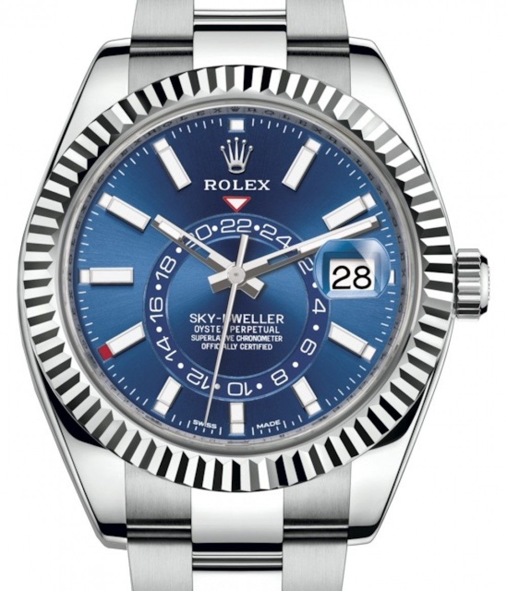 Rolex Sky,Dweller Stainless Steel Blue Index Dial Fluted White Gold Bezel  Oyster Bracelet 326934 , BRAND NEW