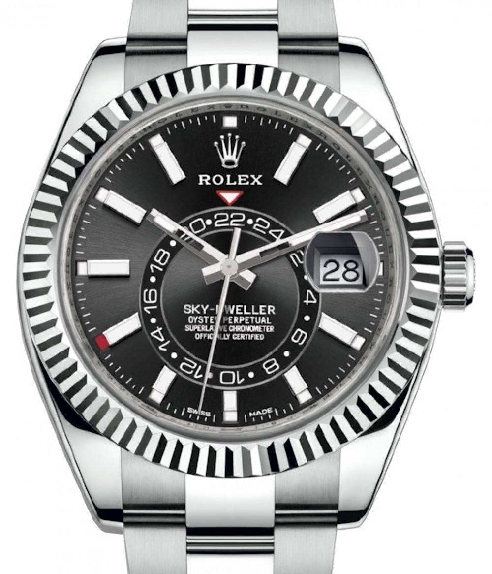 Rolex Sky,Dweller Stainless Steel Black Index Dial Fluted White Gold Bezel  Oyster Bracelet 326934 , BRAND NEW