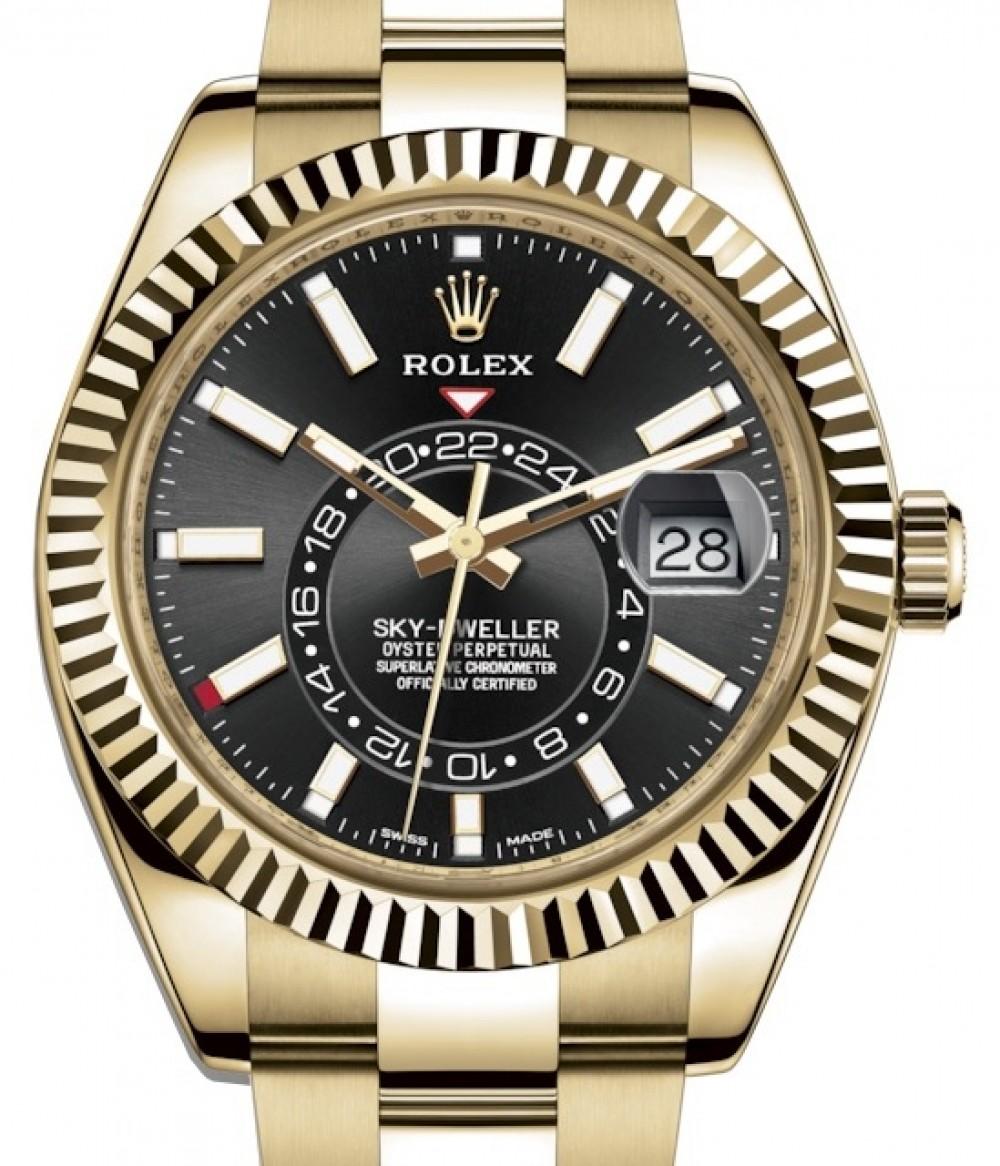 Rolex Sky,Dweller Yellow Gold Black Index Dial Fluted Bezel Oyster Bracelet  326938 , BRAND NEW