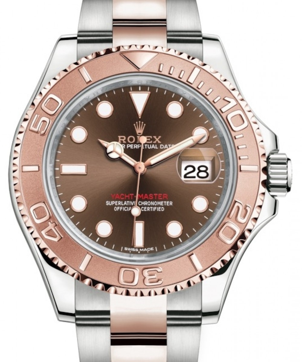 Rolex Yacht,Master 40 Everose Rose Gold/Steel Chocolate Brown Dial Gold  Bezel Oyster Bracelet 116621 , BRAND NEW