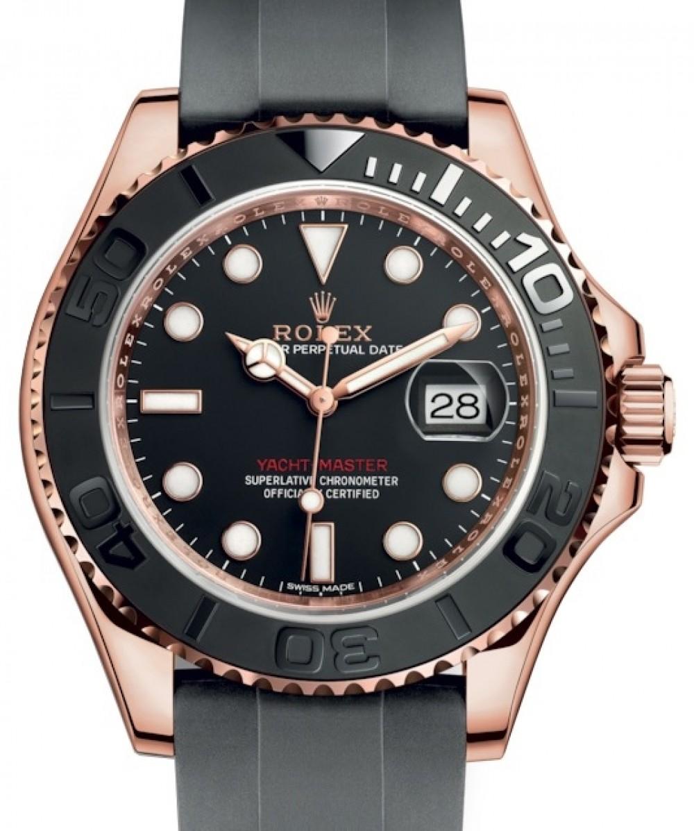 Rolex Yacht,Master 40 Rose Gold Everose 18k Black Dial Ceramic Bezel  Oysterflex Rubber Bracelet 116655 , BRAND NEW