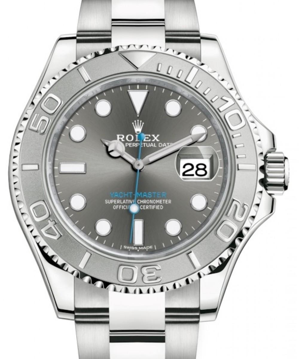Rolex Yacht Master 40 Stainless Steel Dark Rhodium Dial Platinum Bezel Oyster Bracelet 116622 Brand New