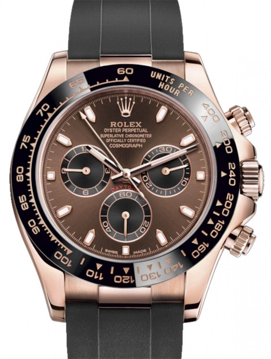 Rolex Daytona Rose Gold Chocolate/Black Index Dial Ceramic Bezel Oysterflex Rubber Bracelet ...