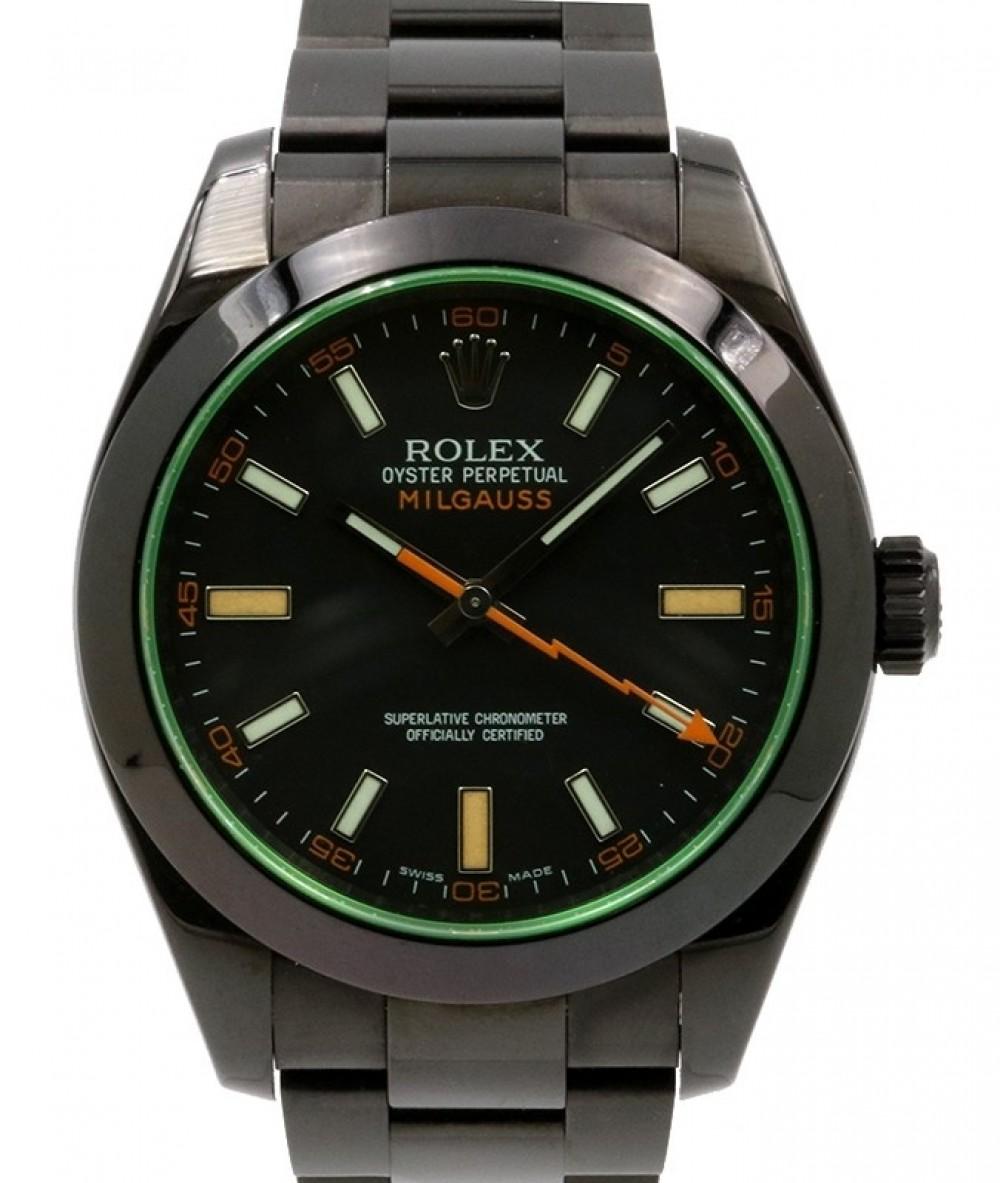 Rolex Milgauss Green Crysal Stainless Steel/PVD Black Dial \u0026 Bezel Oyster  Bracelet 116400GV , BRAND NEW