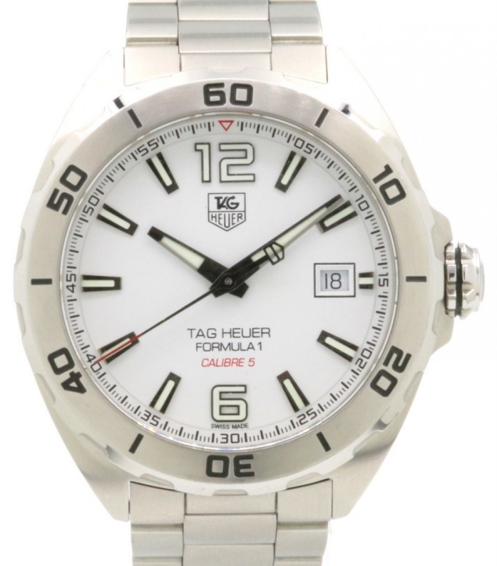 Tag Heuer Formula 1 Calibre 5 Stainless Steel White Dial Steel Bezel Bracelet Waz2114 Ba0875 Pre Owned