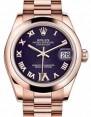 Rolex Datejust 31 178245 Purple Roman Diamond VI Domed Rose Gold President 31mm Automatic - BRAND NEW