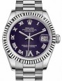 Rolex Datejust 31 178279 Purple Roman Diamond VI Fluted White Gold President 31mm Automatic - BRAND NEW