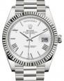 Rolex Day-Date 40 White Gold White Roman Dial & Fluted Bezel President Bracelet 228239 - BRAND NEW