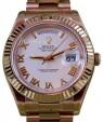 Rolex Day-Date II President 218235 Roman White 18k Rose Gold BRAND NEW