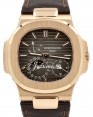 Product Image: Patek Philippe Nautilus Date Moon Phase Rose Gold 40mm Black Brown Dial Leather Strap 5712R-001 - PRE-OWNED