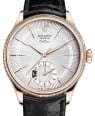 Rolex Cellini Dual Time Rose Gold Silver Guilloche Index Dial Domed & Fluted Double Bezel Black Leather Bracelet 50525 - BRAND NEW