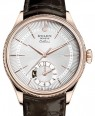 Rolex Cellini Dual Time Rose Gold Silver Guilloche Index Dial Domed & Fluted Double Bezel Tobacco Leather Bracelet 50525 - BRAND NEW