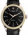 Product Image: Rolex Cellini Time Rose Gold Black Diamond Dial Diamond & Fluted Double Bezel Black Leather Bracelet 50605RBR - BRAND NEW