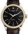 Product Image: Rolex Cellini Time Rose Gold Black Diamond Dial Diamond & Fluted Double Bezel Tobacco Leather Bracelet 50605RBR - BRAND NEW