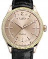 Product Image: Rolex Cellini Time Rose Gold Pink Index Dial Diamond & Fluted Double Bezel Black Leather Bracelet 50605RBR - BRAND NEW