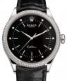 Product Image: Rolex Cellini Time White Gold Black Diamond Dial Diamond & Fluted Double Bezel Black Leather Bracelet 50609RBR - BRAND NEW