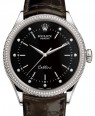 Rolex Cellini Time White Gold Black Set with Diamonds Dial Diamond & Fluted Double Bezel Tobacco Leather Bracelet 50609RBR - BRAND NEW