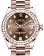 Rolex Datejust 31 Lady Midsize Rose Gold Chocolate Diamond Dial & Diamond Bezel President Bracelet 278285RBR - BRAND NEW